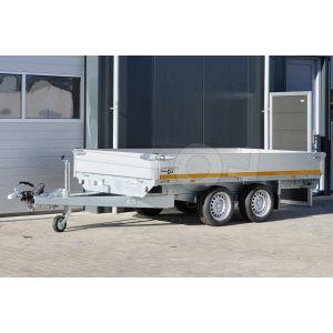 Plateauwagen 310x180, bruto 2000kg (1481 netto), laadvloerhoogte 63cm, 40cm aluminium borden, banden 195/50R13, tandemas