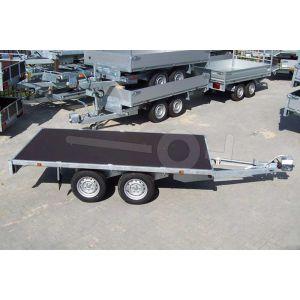 Plateauwagen 310x180, bruto 2000kg (1551 netto), laadvloerhoogte 72cm, geheel vlak (geen borden), banden 155R13, tandemas