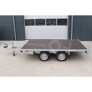 Plateauwagen 310x180, bruto 2700kg (2213 netto), laadvloerhoogte 63cm, geheel vlak (geen borden), banden 195/50R13, tandemas