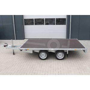 Plateauwagen 310x180, bruto 3000kg (2513 netto), laadvloerhoogte 63cm, geheel vlak (geen borden), banden 195/50R13, tandemas