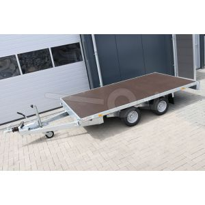 Vlakke plateauwagen zonder borden Eduard afmeting 330x180cm, laadvloerhoogte 56cm, bruto laadvermogen 2000kg