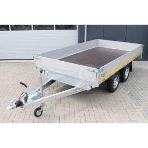 Plateauwagen Eduard tandemas met 30cm borden, afmeting 330x180cm, laadvloerhoogte 72cm en bruto laadvermogen 2000kg, vooraanzicht