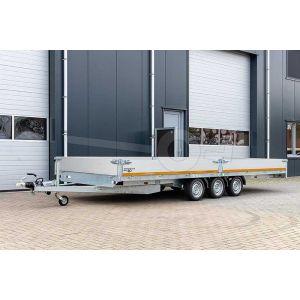 Eduard plateauwagen tridem 4520-5-PB40-350-56, 456x200cm met 40cm aluminium borden, bruto laadvermogen 3500kg, laadvloerhoogte 56cm, geremde drieasser, bandenmaat 195/55R10