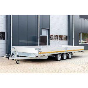 Eduard plateauwagen tridem 4520-5-PB40-350-63, afmeting 456x200cm met 40cm borden, laadvermogen 3500kg bruto, laadvloerhoogte 63cm, drieasser geremd met 195/50R13 banden
