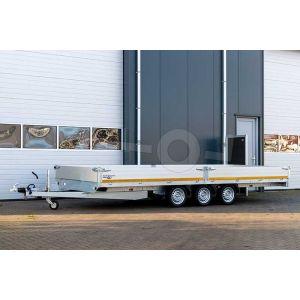 Plateauwagen 456x220 drieasser, laadvermogen bruto 3500kg (ca 2712 netto), laadvloerhoogte 63cm, 30cm aluminium borden, banden 195/50R13, 3x 1350kg as