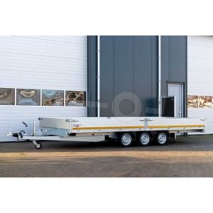 Plateauwagen 506x200 drieasser, laadvermogen bruto 3500kg (ca 2740 netto), laadvloerhoogte 63cm, 30cm aluminium borden, banden 195/50R13, 3x 1350kg as