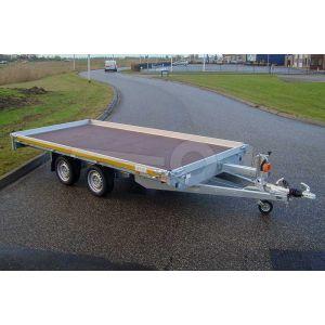 Autotransporter 356x200, bruto 2000kg (1456 netto), dichte vloer met 10cm borden, lier en oprijplaten, laadvloerhoogte 56cm, oprijhoek 13º,  banden 195/55R10, tandemas,