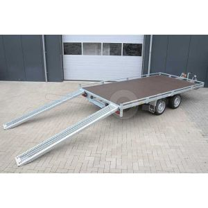 Eduard autotransporter met railing rondom oprijplaten en kabellier 406x200cm 2000kg