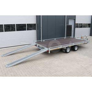 Autotransporter met vlakke laadvloer en oprijplaten 406x200cm 2000kg
