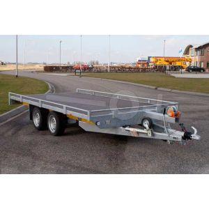 Vlakke autotransporter met dichte laadvloer 406x200cm 2000kg