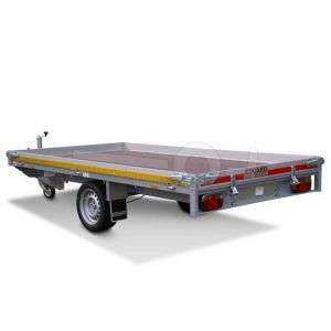 Multitransporter 310x160, bruto 1350kg (1016 netto), laadvloerhoogte 63cm, 10cm aluminium borden, lier en oprijplaten, banden 195/50R13, enkelas