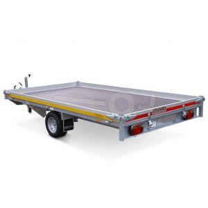 Multitransporter 310x180, bruto 1350kg (994 netto), laadvloerhoogte 56cm, 10cm aluminium borden, lier en oprijplaten, banden 195/55R10, enkelas