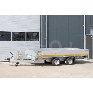 Multitransporter 310x180, bruto 2000kg (1385 netto), laadvloerhoogte 56cm, 40cm aluminium borden, lier en oprijplaten, banden 195/55R10, tandemas