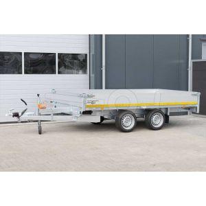 Multitransporter 310x180, bruto 2000kg (1385 netto), laadvloerhoogte 63cm, 40cm aluminium borden, lier en oprijplaten, banden 195/50R13, tandemas