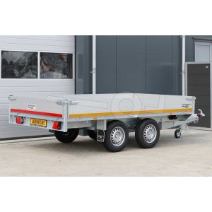 Multitransporter 310x180, bruto 2000kg (1385 netto), laadvloerhoogte 72cm, 40cm aluminium borden, lier en oprijplaten, banden 155R13, tandemas