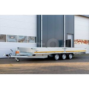 Multitransporter drieasser 406x200, bruto 3500kg (ca. 2710 netto), laadvloerhoogte 63cm, 30cm aluminium borden, lier en oprijplaten, banden 195/50R13, 3 x 1350kg as