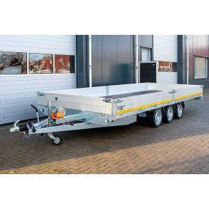Multitransporter drieasser 406x200, bruto 3500kg (ca. 2755 netto), laadvloerhoogte 63cm, 40cm aluminium borden, lier en oprijplaten, banden 195/50R13, 3 x 1350kg as