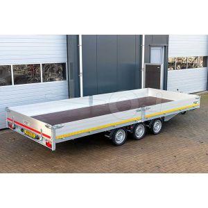Multitransporter drieasser 456x200, bruto 3500kg (ca. 2654 netto), laadvloerhoogte 63cm, 30cm aluminium borden, lier en oprijplaten, banden 195/50R13, 3 x 1350kg as