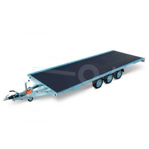 Multitransporter drieasser 456x220, bruto 3500kg (ca. 2679 netto), laadvloerhoogte 56cm, geheel vlak (geen borden), lier en oprijplaten, banden 195/55R10, 3 x 1350kg as