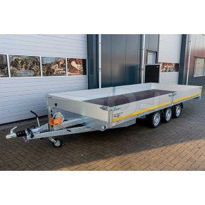 Multitransporter drieasser 456x220, bruto 3500kg (ca. 2587 netto), laadvloerhoogte 63cm, 40cm aluminium borden, lier en oprijplaten, banden 195/50R13, 3 x 1350kg as