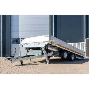 Kantelbare Eduard machinetransporter 406x200cm bruto laadvermogen 3000kg laadvloerhoogte 56cm elektrische bediening 4020-4-AKB30-300-N-56