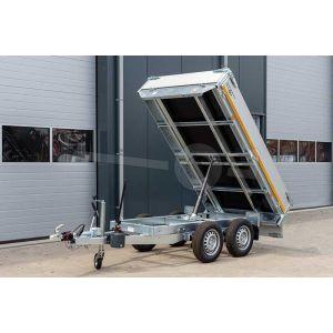 Eduard achterwaartse kipper aanhangwagen met handbediening, ongeremde tandemasser, afmeting 260x150cm, bruto laadvermogen 750kg
