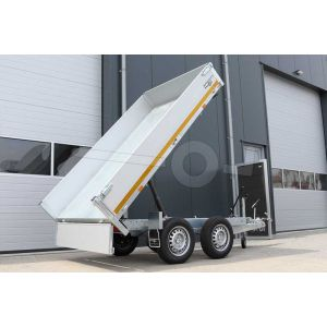 Eduard achterwaartse kipper aanhangwagen, afmeting 260x150cm met 30cm borden, laadvloerhoogte 72cm, bruto laadvermogen 2000kg, handmatige bediening