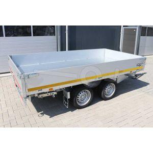 3-zijdige Eduard kipper, afmeting 310x160cm, 40cm aluminium borden, bruto laadvermogen 2700kg, laadvloerhoogte 63cm, handmatige bediening