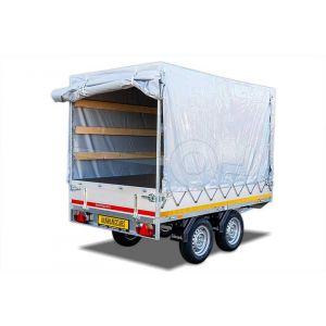 Standaard huifdoek voor Eduard plateauwagen 230x145cm, 100cm hoog vanaf de laadvloer (zonder frame) Kleur: 0712 grijs.