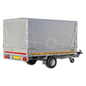 Standaard huifdoek voor Eduard plateauwagen, multitransporter of kipper met een laadbak van 260x150cm. Hoogte 130cm hoog vanaf de laadvloer. Kleur van het huifdoek is 7500 grijs.
