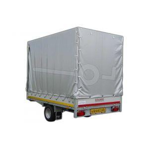 Standaard huifdoek voor Eduard plateauwagen, multitransporter of kipper met een laadbak van 260x150cm. Hoogte 180cm hoog vanaf de laadvloer. Kleur van het huifdoek is 7500 grijs. Onderdeelnummer  Onderdeelnummer 2615-Z-STD-18-7500.