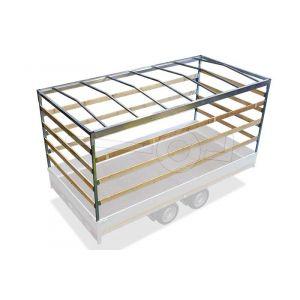 Huifstellage voor Eduard plateauwagen, multitransporter of kipper met een laadbak van 260x150cm. Hoogte 180cm, gemeten vanaf de laadvloer. Onderdeel 2615-S-STD-180