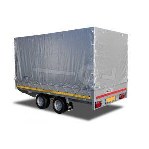 Standaard huifdoek voor Eduard plateauwagen, multitransporter of kipper met een laadbak van 310x160cm. Hoogte 130cm gemeten vanaf de laadvloer. Kleur van het huifdoek is 7500 grijs. Onderdeelnummer 3116-Z-STD-13-7500.