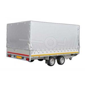 Standaard huifdoek 406x200x180cm 4020-Z-STD-18-7500 ten behoeve van standaard huif voor Eduard plateauwagen of multitransporter met een laadbak van 406x200cm. Hoogte 180cm gemeten vanaf de laadvloer. Kleur van het huifdoek is 7500 grijs.
