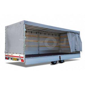 Huifdoek 506x220x180cm 5022-Z-SFZ-18-7500 ten behoeve van huif met schuifzeil voor Eduard plateauwagen of multitransporter met een laadbak van 506x220cm. Hoogte 180cm gemeten vanaf de laadvloer. Kleur van het huifdoek is 7500 grijs.