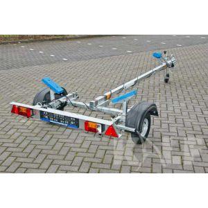 """Sportboottrailer basic 400x160 (lxb), bruto 450kg (325 netto), met glijplanken pakket (ook voor schroefas), banden 13"""", enkelas"""
