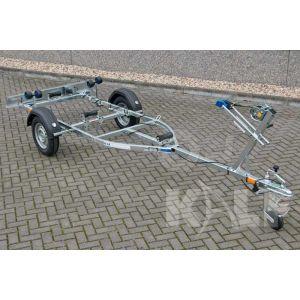 """Sportboottrailer basic 450x160 (lxb), bruto 600kg (450 netto), met glijplanken pakket (ook voor schroefas), banden 13"""", enkelas"""