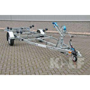 Enkelasser sloeptrailer Kalf Basic 1100-57 afmeting 570x190cm met een bruto laadvermogen van 1100kg (760 netto)