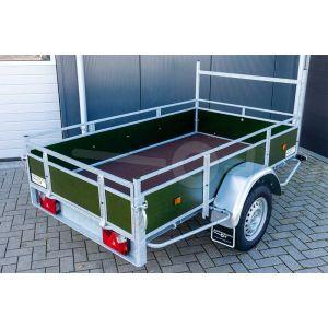Power Trailer enkelasser aanhangwagen, laadbak 200x110cm met groene betonplex borden, bruto laadvermogen 750kg ongeremd