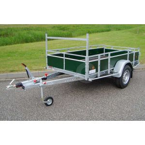 Aanhangwagen 257x150 (lxb bak), bruto 1350kg (995 netto), borden groen betonplex, bodemplaat betonplex, enkelas