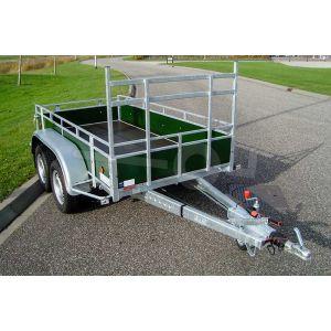 Aanhangwagen 257x150 (lxb bak), bruto 1500kg (1160 netto), borden groen betonplex, bodemplaat betonplex, tandemas
