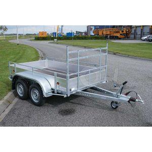 Aanhangwagen 257x132 (lxb bak), bruto 2700kg (2320 netto), borden aluminium, bodemplaat betonplex, tandemas