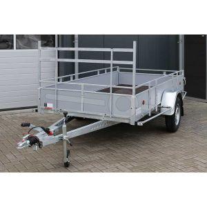 Aanhangwagen 257x132 (lxb bak), bruto 1350kg (1010 netto), borden grijs plywood, bodemplaat betonplex, enkelas