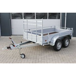 Aanhangwagen 257x132 (lxb bak), bruto 1500kg (1170 netto), borden grijs plywood, bodemplaat betonplex, tandemas