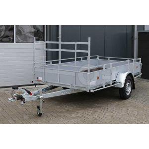 Aanhangwagen 307x132 (lxb bak), bruto 1350kg (990 netto), borden grijs plywood, bodemplaat betonplex, enkelas