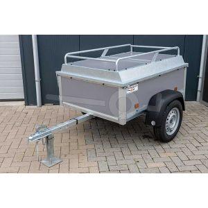 "Bagagewagen 150x110x50 (lxbxh bak), 750kg (570 netto). Grijze betonplex panelen, banden 13"", enkelas"