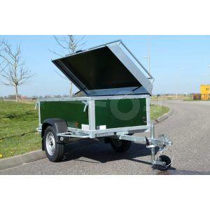 "Bagagewagen 175x100x60 (lxbxh bak), 750kg bruto (560 netto). groen betonplex panelen, banden 13"", enkelas"