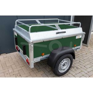 "Bagagewagen 175x110x60 (lxbxh bak), 750kg (550 netto). Groene betonplex panelen, banden 13"", enkelas"