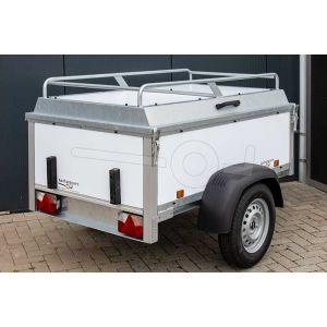 """Bagagewagen 175x110x60 (lxbxh bak), 750kg (550 netto). Witte kunststof panelen, banden 13"""", enkelas"""