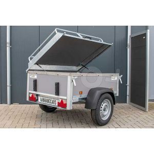 "Bagagewagen 175x110x60 (lxbxh bak), 750kg (550 netto). Grijze betonplex panelen, banden 13"", enkelas"